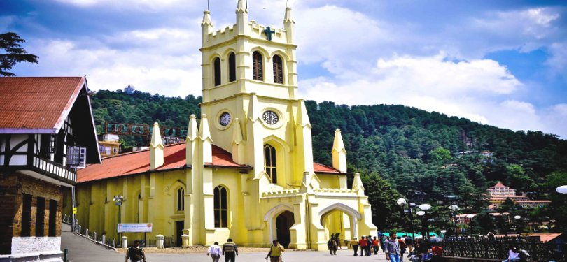The Mall and the Church In Shimla