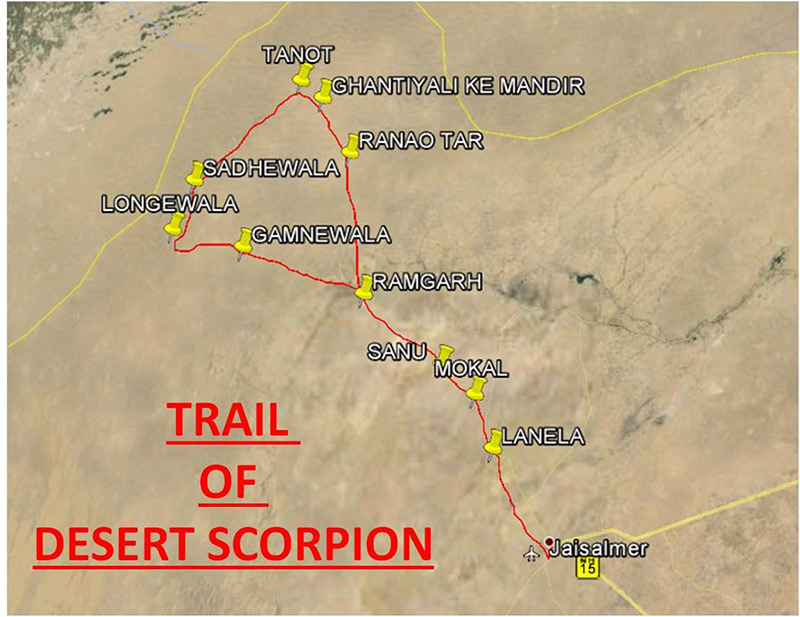 Jaisalmer safari map